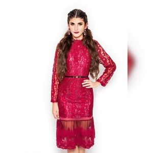 Formal long sleeve red lace dress